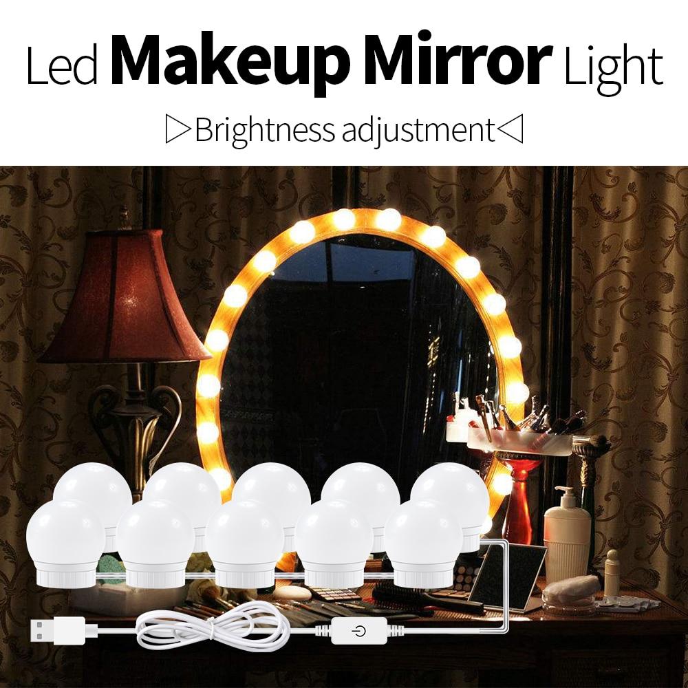 Makeup Lampara Para Espejo USB Powered 12V Vanity Dressing Table Mirror Lamp LED Makeup Mirror Light Bulbs String Decor Bathroom