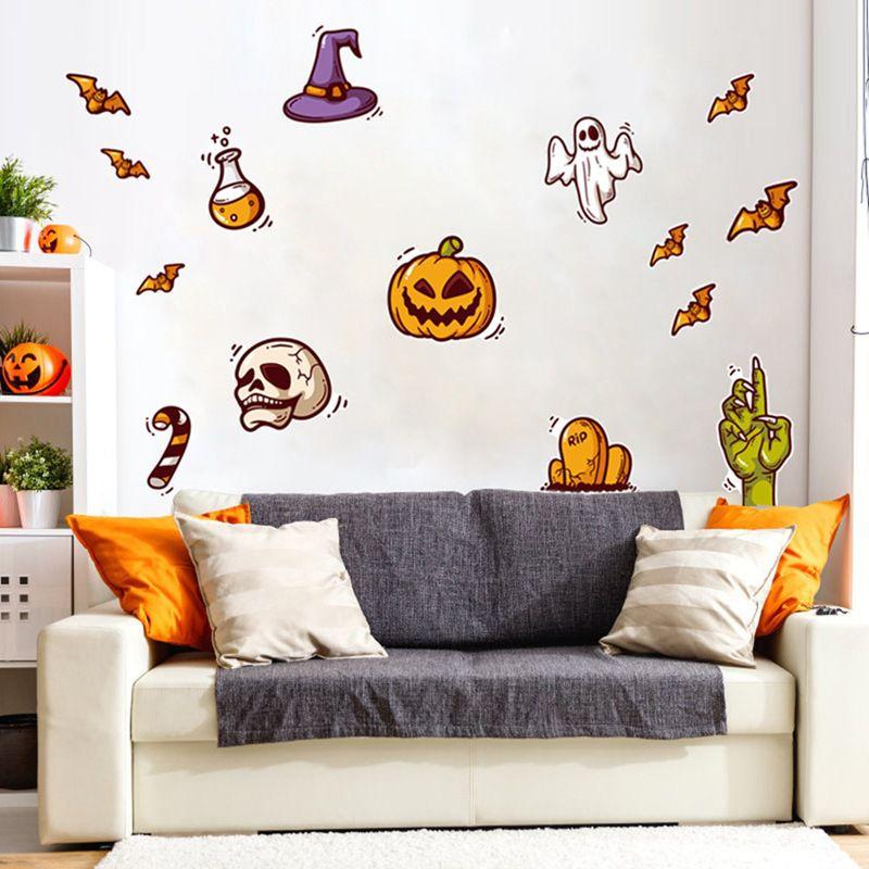 Мультфильм милый Хэллоуин стикер стены водонепроницаемый самоклеющиеся ПВХ наклейки для домашнего декора череп Тыква украшения - 3