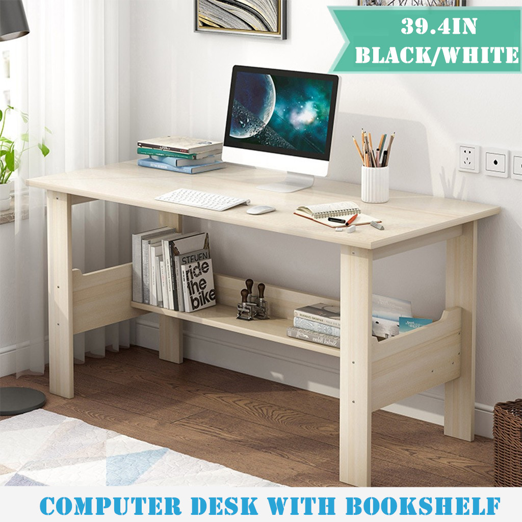 Home Desktop Computer Desk With Bookshelf Simplistic Industrial Style Bedroom Laptop Study Table Office Table Workstation