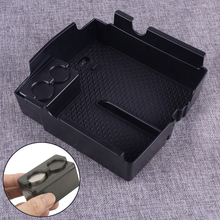 DWCX Plastic Black Car Center Console Tray Armrest Storage Box with Mat Store Coins Fit for Jeep Wrangler JL 2018 2019 shineka car styling soft rubber armrest box trim cap center console storage box soft rubber cover for jeep wrangler tj