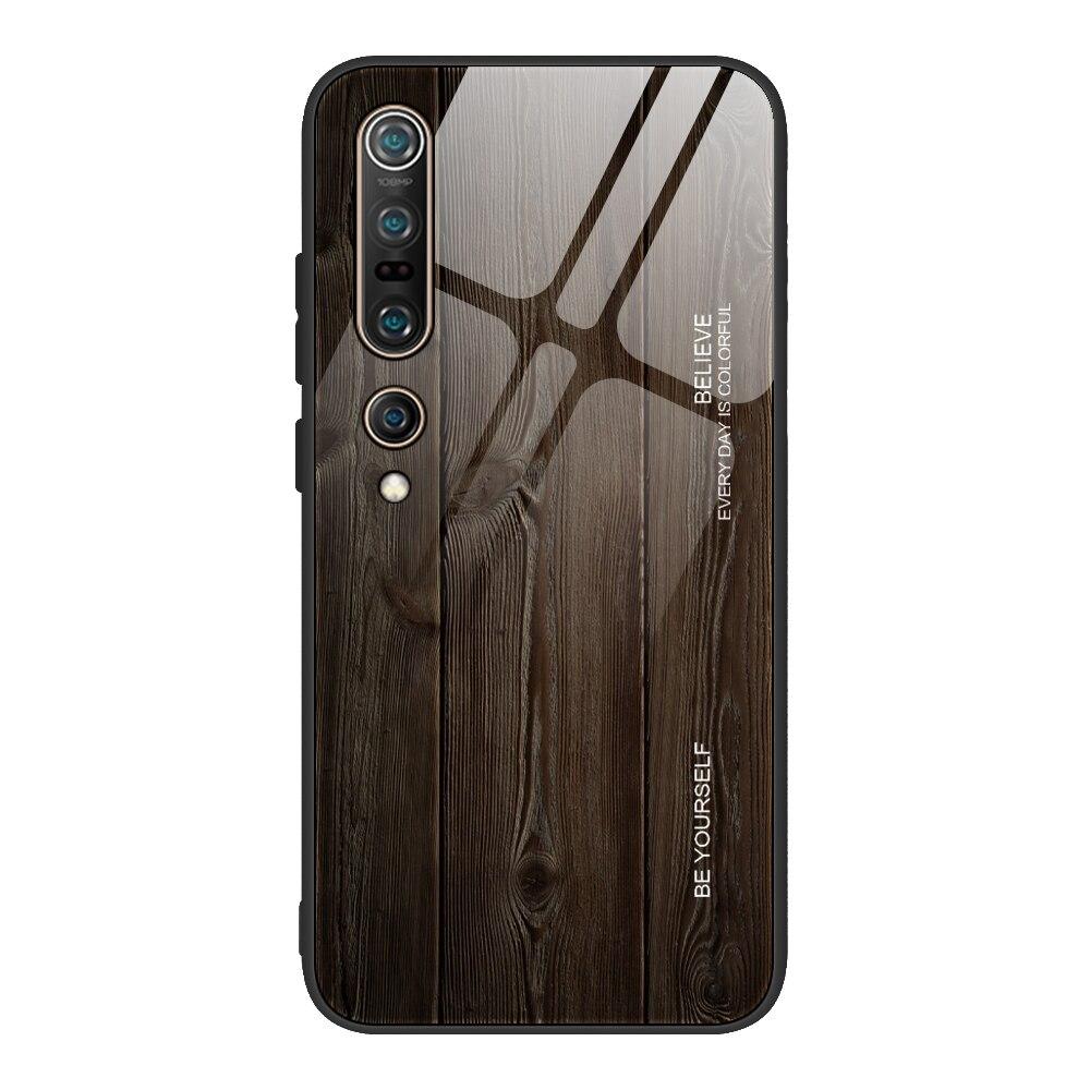For Xiaomi Mi Note 10 Pro Mi10 Case Tempered Glass Wood Grain Back Cover Case For Xiaomi Mi 9T Pro 9Se Mi9 Lite A3 Cc9 Pro A2