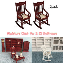 New 1:12 Dollhouse Miniature Furniture White Wooden Rocking Chair Hemp Rope Seat For Dolls House Accessories Decor Toys 2020(China)