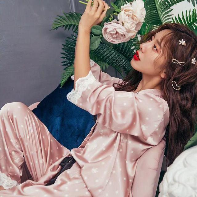 New Sleepwear Womens Autumn and Winter Long Sleeve Sleepers Pajamas Silk Ice Silk Home Clothing 2 Piece Sets