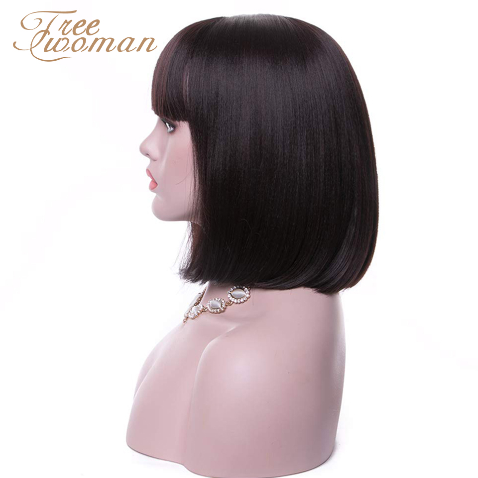 FREEWOMAN Straight Black Synthetic Wigs With Bangs For Women Medium Length Hair Bob Wig Heat Resistant Bobo Hairstyle Cosplay