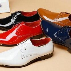 جديد وصول الرجال براءات أحذية من الجلد الرجال فستان أحذية الدانتيل يصل أشار تو الزفاف الأعمال حفلة كبيرة الحجم 38-48 AA-01