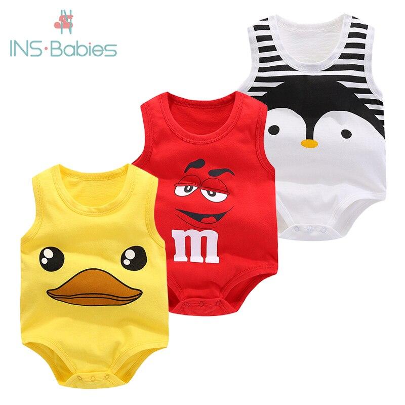 Bolsa de bebé pedo verano Chaleco de algodón puro ropa de bebé sin mangas Body de dibujos animados 2020 nueva ropa niña recién nacida escalada pijama