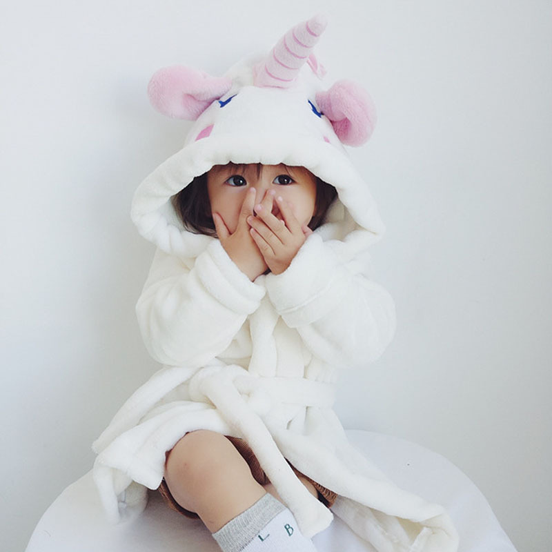 Flannel Bathrobe Children Tracksuit Cute Baby Unicorn CHILDREN'S Nightgown Baby Bathrobe