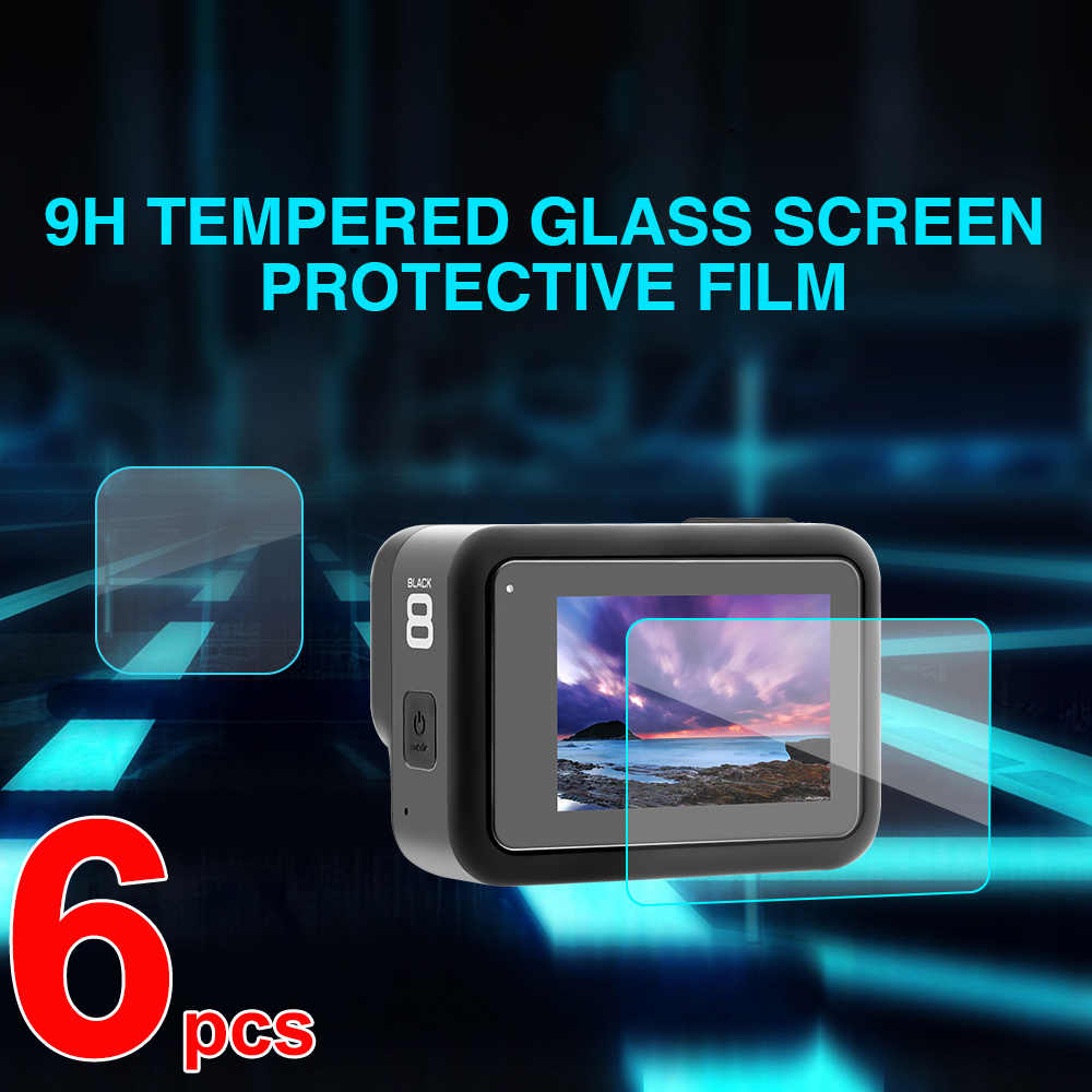 Tempered Glass Screen Protector For Gopro Hero 8 Sport Camera Screen Protector Film 6Pcs For Gopro 8 Camera Accessories