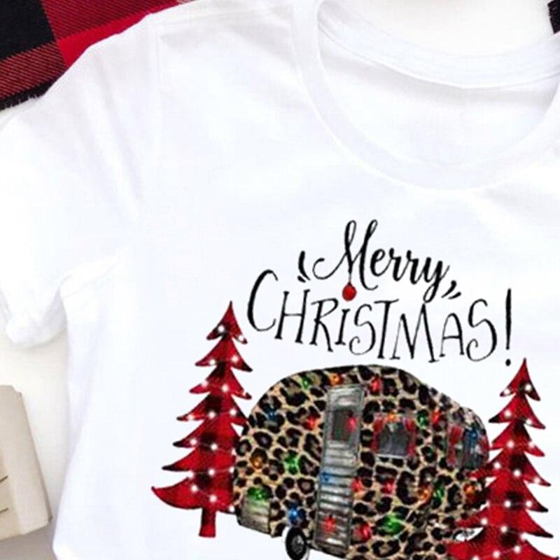 Christmas Tshirt Women Harajuku Casual Christmas Tree Plus Size Tee Print Womens Clothing Streetwear Graphic Tees