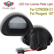 1 Pair LED Car License Plate Light for CITROEN C1 2005-2013 Peugeot 107 2005-2014 Auto Led Licence Backup Stop