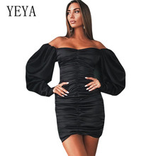 YEYA Sexy Hollow Out Women Autumn Dress Long Sleeve Small V-Neck Bodycon Pleated Short Casual Beach Party Dresses Femme
