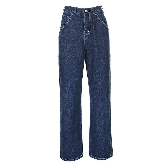 Streetwear Straight High Waist Denim Pants  5