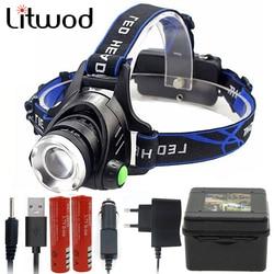 Litwod Z30 568D LED Headlamp XM-L2 U3 XM-L T6 Zoom Led Headlight Head Flashlight torch Zoom Adjustable Head Lamp 18650 battery