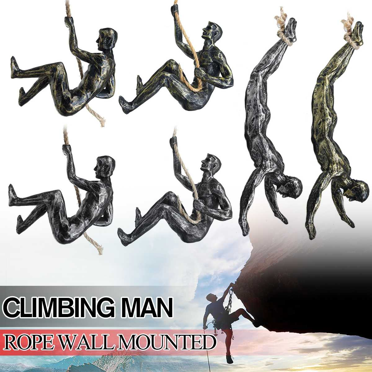 NEW Climbing Man Resin Wall Hanging Pendant Wall Hanging Cafe Bar Decoration Retro Statue Industrial Style Statue Decor