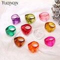 2021 neue Chic Candy Farben Transparent Harz Acryl Ringe Für Mädchen Geometrische Unregelmäßige frauen ringe Vintage Mode Ringe