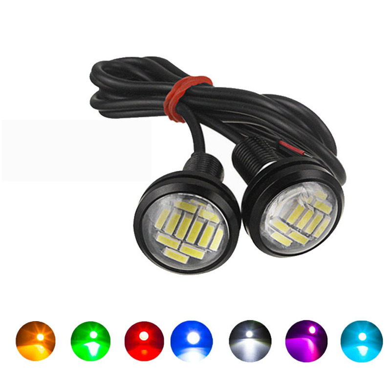 2PCS Eagle Eye LED 23mm 4014 12SMD Car Daytime Running Backup Turn Signal Lights Auto License Plate Lamps White