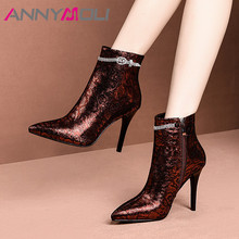 ANNYMOLI Winter Sheepskin Ankle Boots Women Natural Genuine Leather Crystal Thin Heel Short Boots Zip Super High Heel Shoes Lady