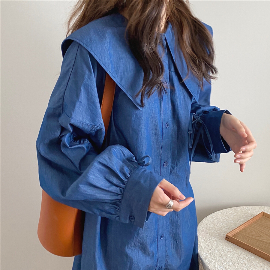 H33fb3134663246b0a09fec3638cd3a35v - Autumn Korean Big Lapel Collar Long Sleeves Drawstrings Solid Mini Dress