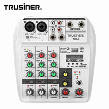 Mezclador de sonido Trusiner TU04 de 4 canales con consola de mezcla Usb, mezclador de sonido con efectos, fabricante Vintage, consola mezcladora udio