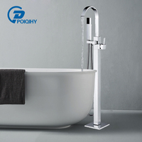 Chrome Floor Mounted Bathtub Shower Faucet Black Bronze Square free standing Crane with shower hand Hot Cold Mixer Tap
