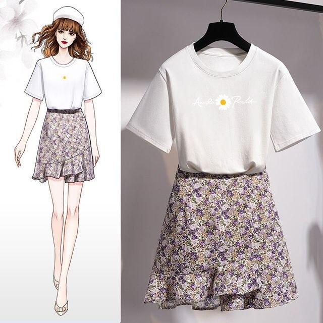 Girls Korean Sweet Daisy Print T-shirt Skirts Set Women Summer Cozy Cotton Short Sleeve Mini Dress Suit 2021 Fashion Clothing 2