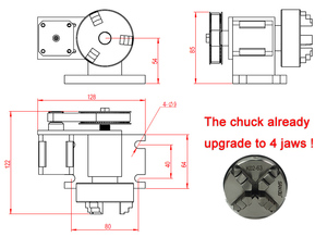 Image 4 - نك الروتاري محور عدة تشاك 65 مللي متر النشاط Tailstock 4th محور 54 مللي متر مركز كشتبان Tailstock نك طحن آلة جزء أدوات
