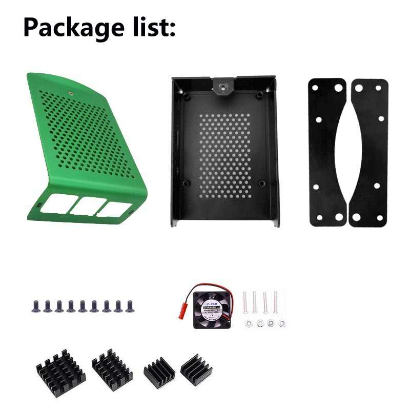Neueste Aluminium fall mit Kühlkörper Hängen halterung Kompatibel + fan für Raspberry Pi 4 Modell B