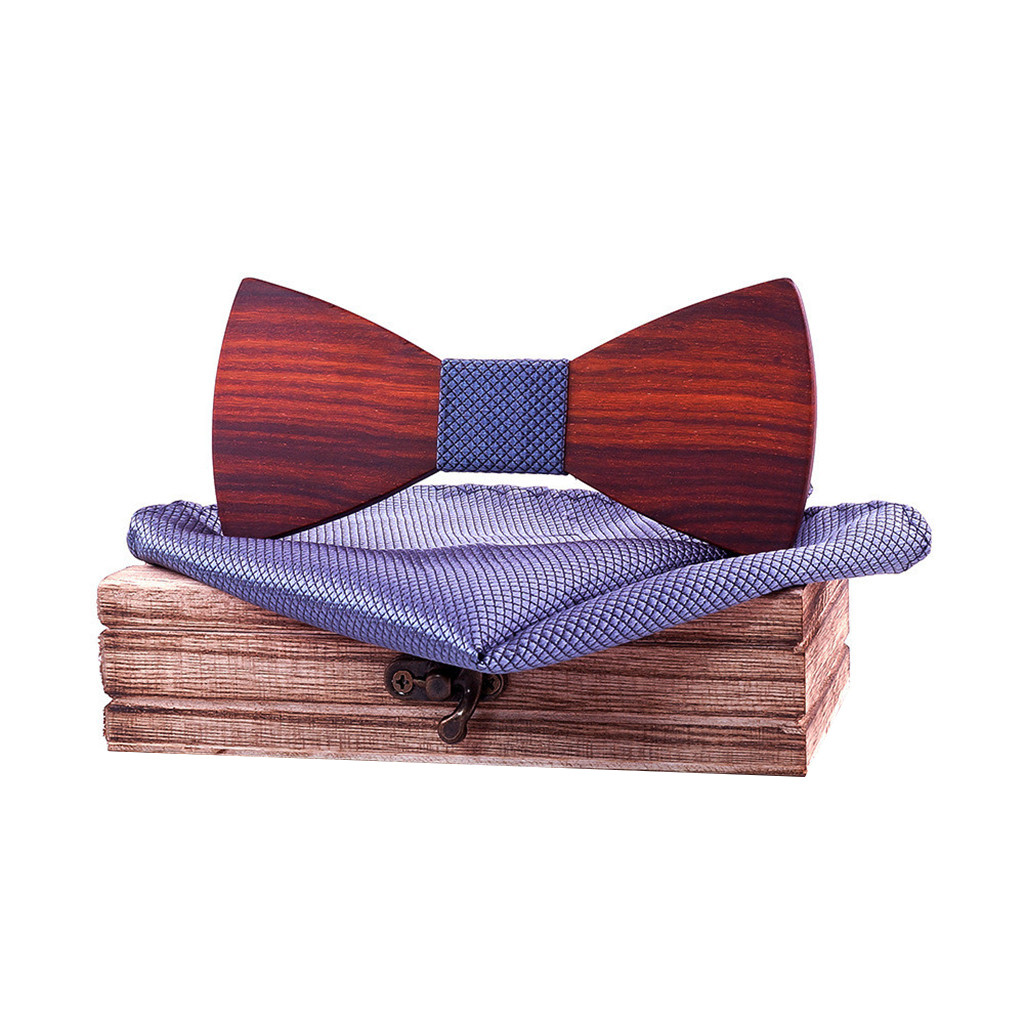 Womail 2019 New Style Fashion Design Wooden Bow Tie Unique Design Men's Bow Tie Wooden Polyester Handkerchief Men's Bow Ties