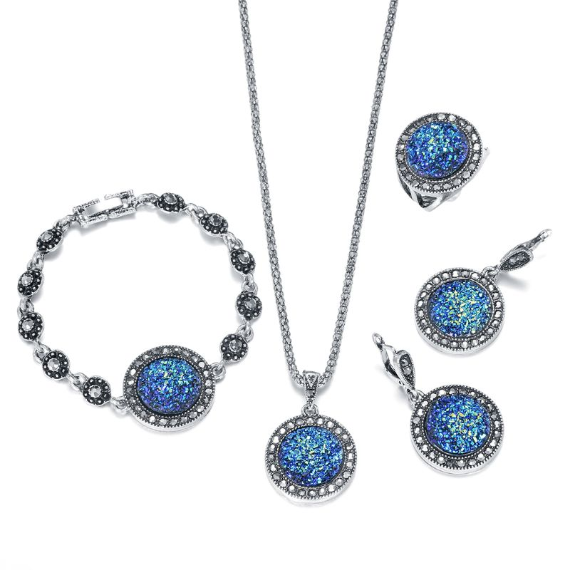 4 PCSJewelry Set for Women  Necklace Earring Ring