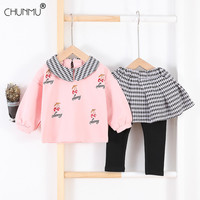 Toddler Baby Girl Autumn Winter Clothes Fashion Long Sleeve Lotus Leaf Collar Embroidered Cherry Tops Leggings Outfits Set