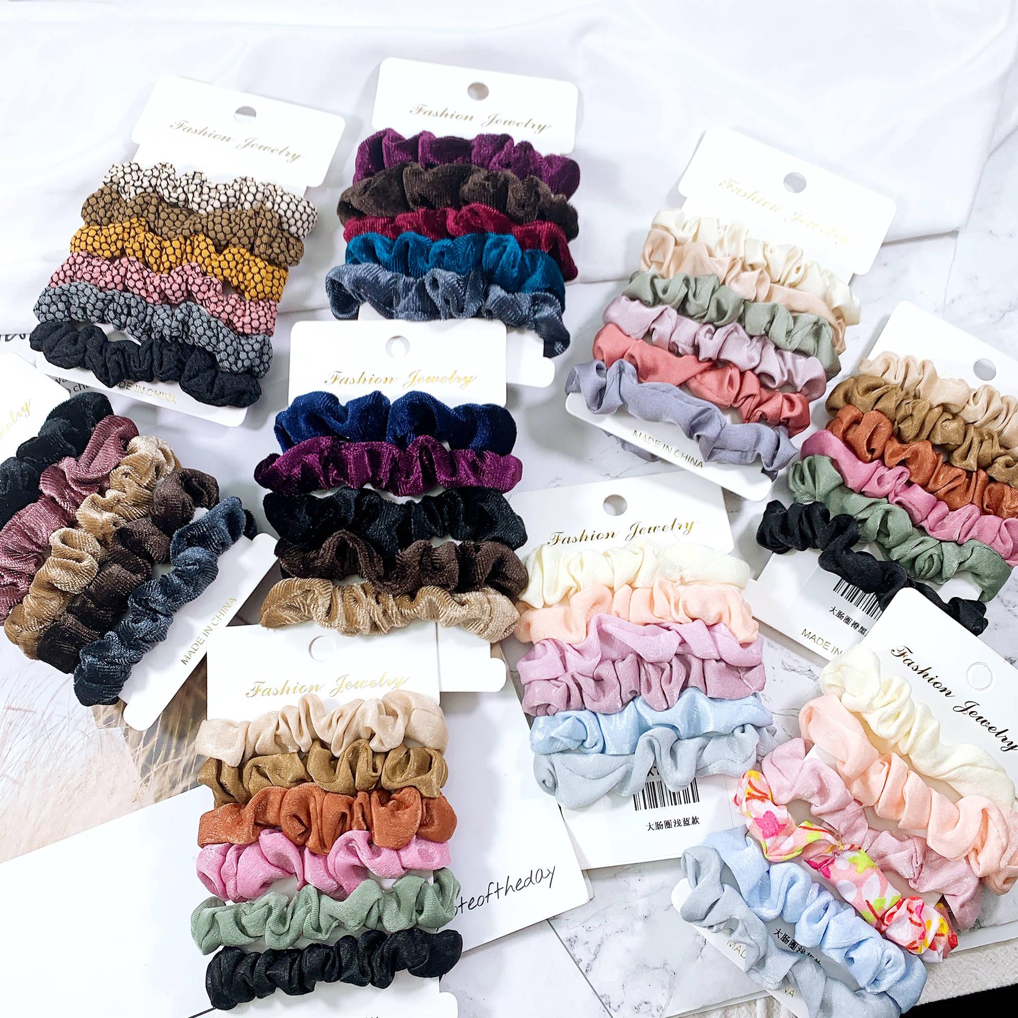 1Set Women  Elastic Hair Bands Girls Ponytail Holder Elastic Hair Scrunchie Solid Color Headwear Hair Accessories