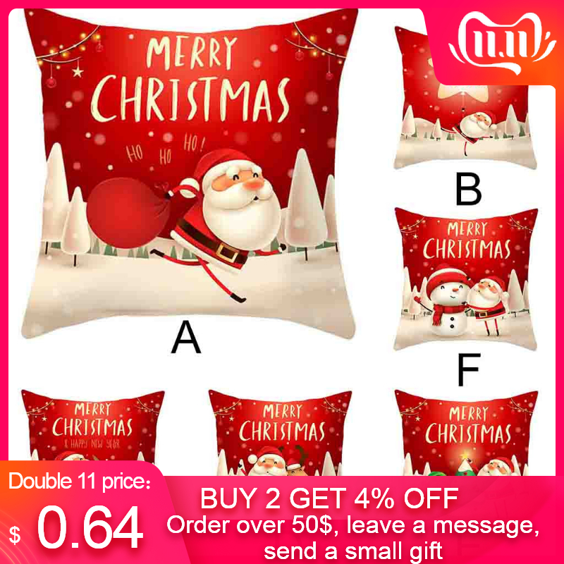 Christmas Pillow Cover Decor Pillow Case Sofa Waist Throw Cushion Cover Merry Christmas Decorations Pillow Case Sofa Wais