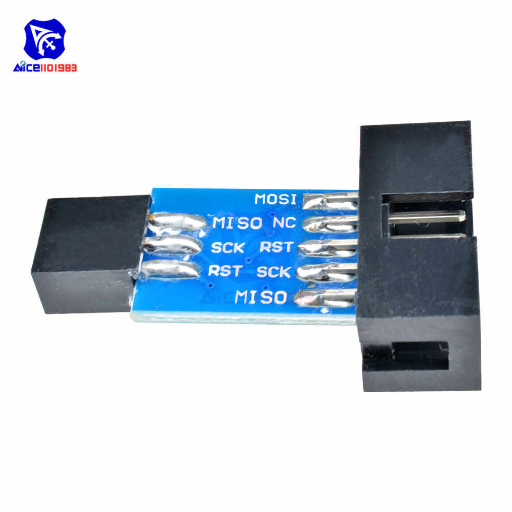 10 دبوس إلى 6 دبوس لوح مهايئ لاردوينو AVRISP MKII USBASP STK500 تحويل