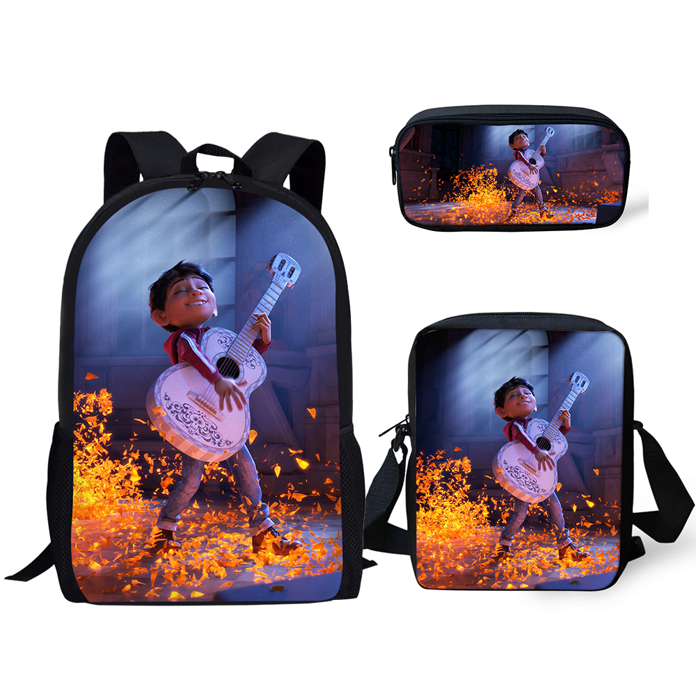 HaoYun 3PCs/Set Children Backpack COCO Pattern Kids School Bags Music Skull Print Teenagers Book-Bag Mochila Rucksack Travel Bag