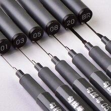 6 adet/takım su geçirmez kroki Pigment ince Liner kalem iğne cetvel kalemi profesyonel resim kalemi mikron kalem okul ofis kırtasiye