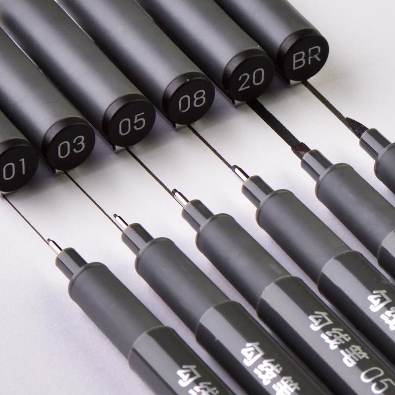 6Pcs/Set Waterproof Sketch Pigment Fine Liner Pen Needle Drawing Pen Professional Art Marker Micron Pen School Office Stationery