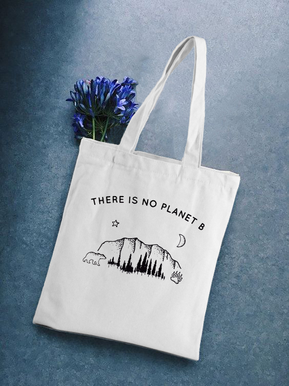 There Is No Planet B Canvas Tote Shoulder Bag Shopping Bags For Women Double Strap Casual Handbag Girls' School Books Bag