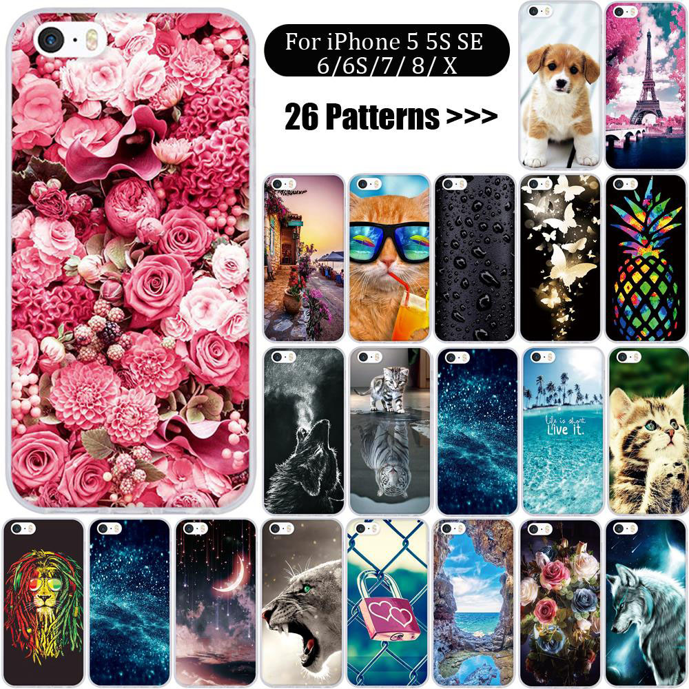 Case For iphone 5 5s SE Case For iPhone 6 6s 7 8 X Case Silicone 3d Soft TPU Cover for iphone 5s Cover Coque for Iphone 7 Cover