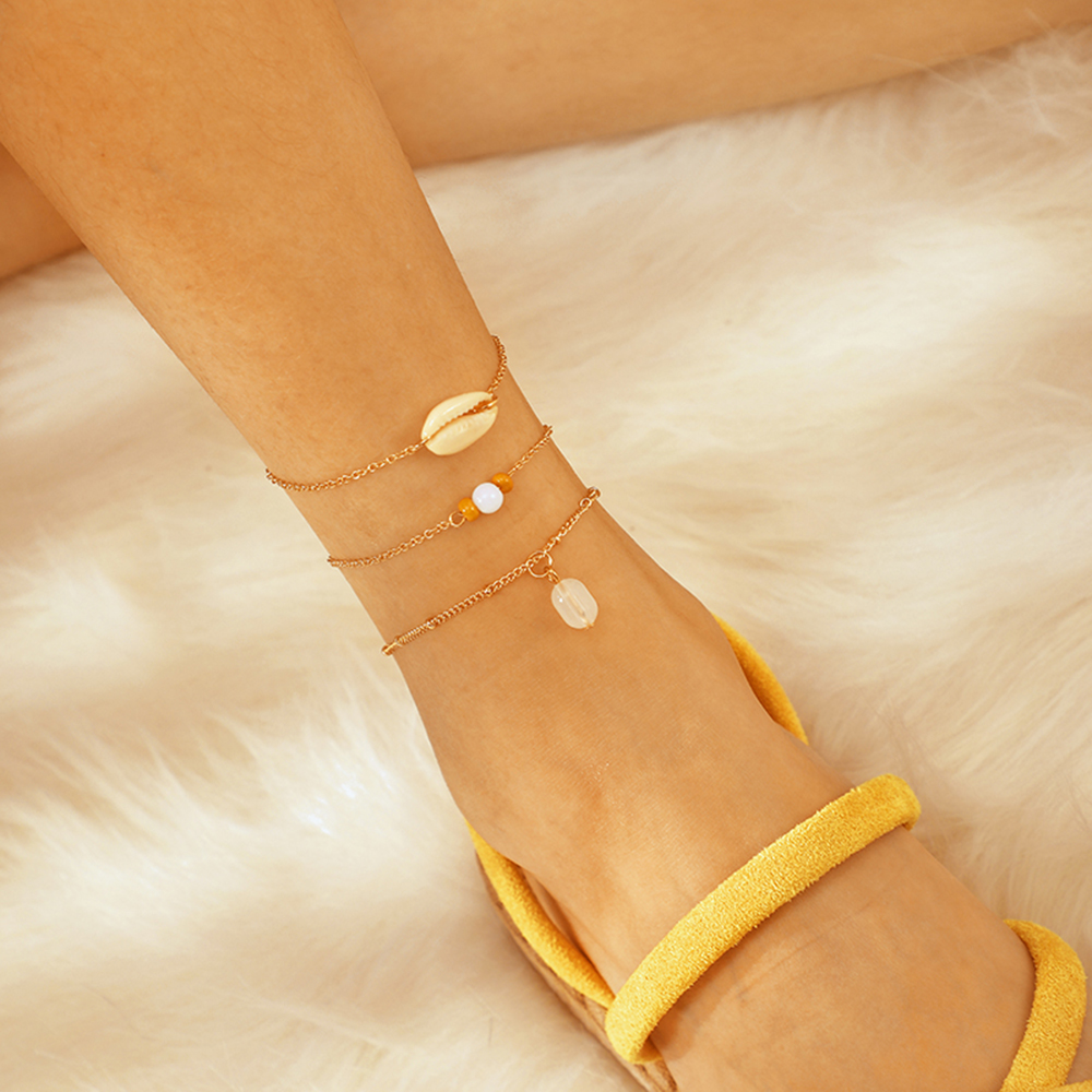 3 Pcs/Set Fashion Shell Anklets for Women Girl Link Chains Shell Pendant Anklet Bracelets Foot Jewelry Simple Gifts On Foot