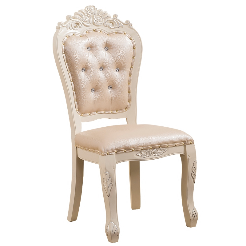 Yellow Red And Gold Dining Chair Solid Wood Hotel Casual White Back Restaurant Chair Mahjong Chair