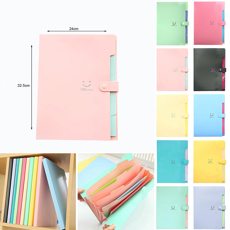 1PCS Waterproof Office Plastic File Folders Multi Pocket Organizer A4 File Expansion Document Folder Binder