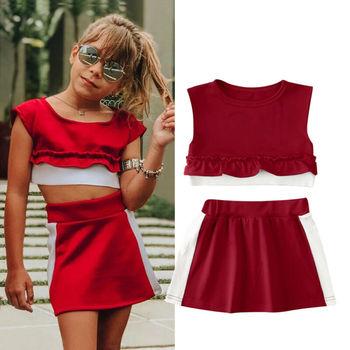 1-5 Years Girls Tracksuit Set Striped Kids Baby Girl Clothes Sleeveless Vest Ruffle Tops Tutu Skirt For Girls Sports Outfit tanie i dobre opinie Dziewczyny Pasuje prawda na wymiar weź swój normalny rozmiar W paski Anti-shrink O-neck COTTON Krótki
