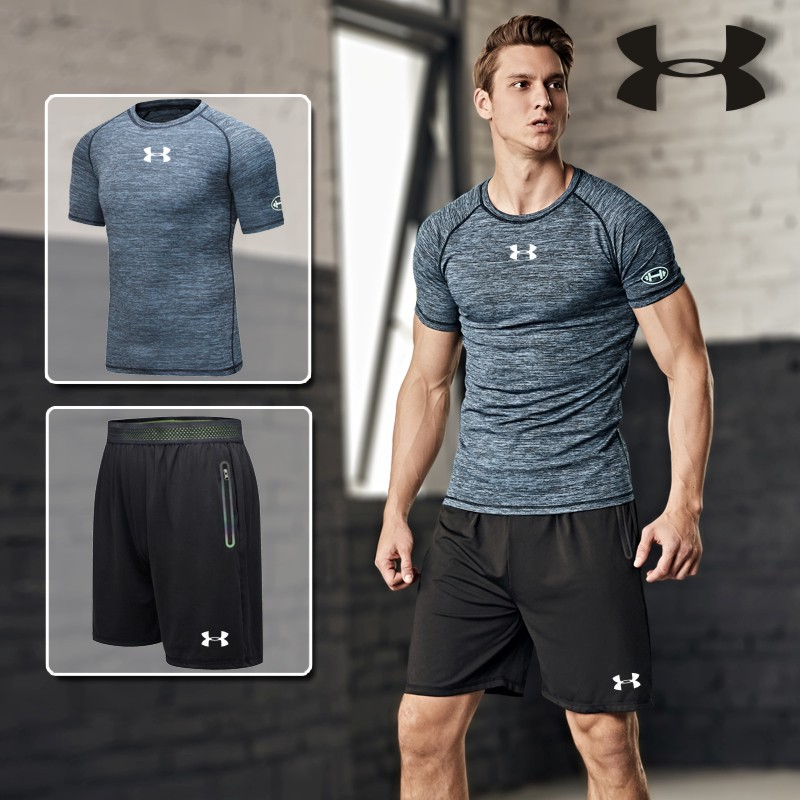 Summer New Style Men Fitness Short Sleeve Cationic Ultra-stretch Quick-Dry Short Sleeve Fitness Yoga Clothes Tuber