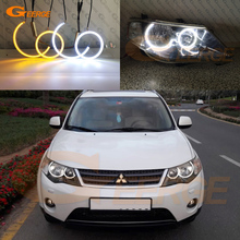 Ultra bright Dual Color Switchback led angel eyes drl turn signal For Mitsubishi Outlander II 2006 2007 2008 2009