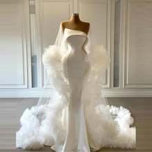 Простой Русалка вечернее платье с белой Длинное Пышное Платье