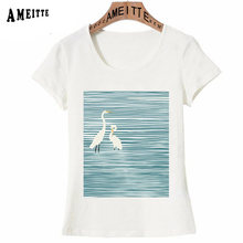 Stripe and Red-crowned Crane The Blue Print T-Shirt Woman Summer T-Shirt Women Funny Aesthetics Art Casual Tops Girl White Tees(China)