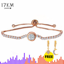 17KM New Round Tennis Bracelet For Women Rose Gold Silver Color Cubic Zirconia Charm Bracelets & Bangles Femme Wedding Jewelry(China)