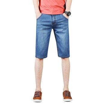 Pantalones vaqueros rasgados elásticos de moda de verano para hombre, pantalones cortos sólidos informales hasta la rodilla, pantalones cortos ajustados de vaquero elástico, ropa para hombre