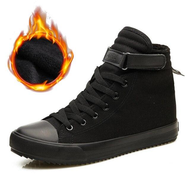 2020 Winter Schoenen Mannen Winter Laarzen Hoge Top Sneakers Warm Bont Schoenen Canvas Casual Mannen Enkellaars Zwart Wit Schoeisel KA1628Eenvoudige Laarzen