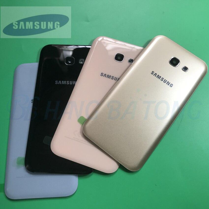 Samsung Galaxy A5 A520F A7 A720F A3 A320F 2017 Rear Cover Back glass Housing Case Battery Door Replacement + Camera Frame